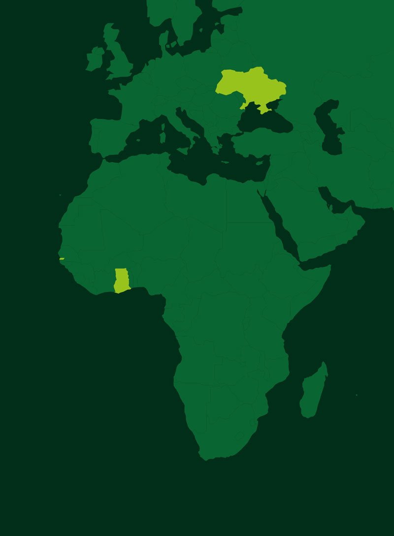 Africa and Europe Farming Locations
